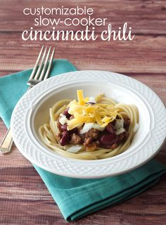 Serve this super-customizable chili over spaghetti for a surefire family favorite. #chili #dinner