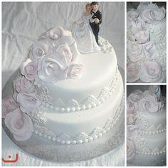 Galleri - Kategori: Bryllup - Bilde: 2 etg marsipankake