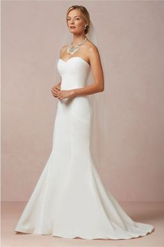 Simple and Charming Plain Satin Mermaid Wedding Dress