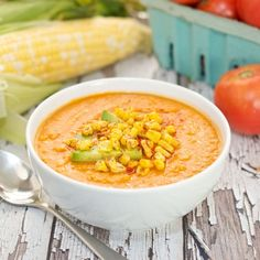 Roasted Corn and Tomato Soup {Sweet Pea's Kitchen}