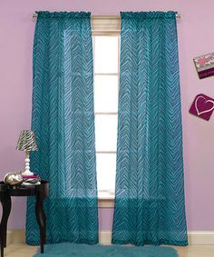 Teal & Black Zebra Voile Curtain Panel - Set of Two by Beatrice Home #zulily #zulilyfinds