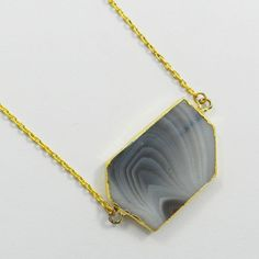 Simple Design Natural Black Banded Agate gemstone brass chain necklace jewellery #Handmade #Chain #Magicalcollection #Gemstone #Necklace Jewelry #Sterling Silver #Necklace