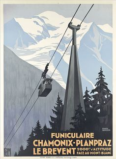 Vintage ski poster - Funiculaire Chamonix