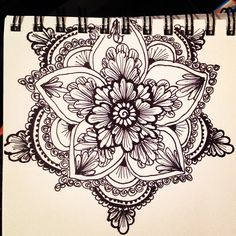 Henna style floral mandala with a sharpie fine point Dotwork Tattoo Mandala, Floral Mandala Tattoo, Flower Mandala, Henna Mandala, Sternum Tattoo, Dragonfly Tattoo, Pretty Tattoos, Love Tattoos, Beautiful Tattoos