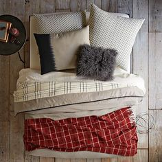 Layered Bed Looks - Cabin Cool #WestElm (I would use another accent color than red for our master)