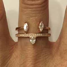 Rose Gold Plated Sterling Silver Two CZ Ring