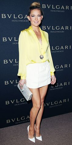 Why is Kate Hudson so hot? -- Look of the Day - February 2014 - Kate Hudson in Emilio Pucci Celebrity Moms, Celebrity Style, Celebrity Photos, White Pumps, Edgy Style, Kylie, Mellow Yellow, Look Chic, Looks Cool