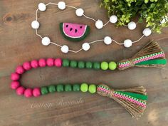 *Includes Bead Garland Only* Wood Bead Garland, Beaded Garland, Diy Holiday Blocks, Pom Pom Garland, Pom Poms, Diy Craft Projects, Diy Crafts, Picnic Decorations, Decorative Beads