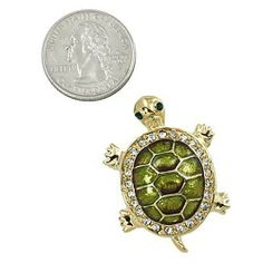 """Goldtone with Rhinestone Green Turtle Brooch Pin PammyJ Brooch Pin. Save 38 Off!. $15.99. Lead Compliant. Comes In Foil Gift Box. Measures 1.5"""" Long. Perfect For Gift Giving. Perfect For Turtle Lovers!"""