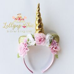 Pink and Gold Unicorn Headband by LollipopChicBowtique on Etsy https://www.etsy.com/listing/484183434/pink-and-gold-unicorn-headband