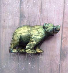 Carved Labradorite Bear Totem Animal Spirit Guide by lotusfairy