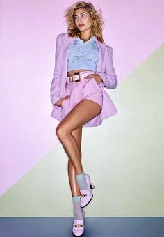 Because one pastel shade is never enough. #HaileyBaldwin on @ELLEmagazine wearing a full pastel summer suit look with knit top and loafer heels from the #VersaceTribute collection. #VersaceSS18 #VersaceEditorials   Photographer: Mariano Vivanco