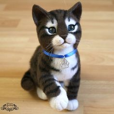Cute Needle felted project wool animals cat (Via @katerina_gudozhnikova)
