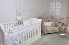 Timeless neutral nursery with a hint of lavender and gray.