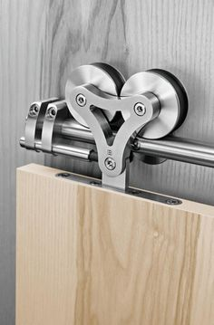 Duplex-S by Supra: Stainless steel sliding door hardware for when there is no pocket for the door. @ DIY House Remodel