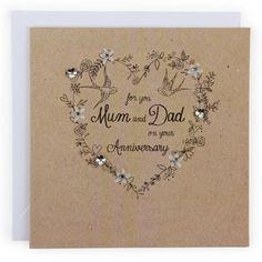 Anniversary mum & dad floral heart card