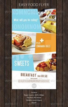 Food Flyer with Soft Colors. Customizable professional template for a restaurant flyer. Web Design, Food Design, Print Design, Graphic Design, Design Ideas, Flyer Design Templates, Print Templates, Flyer Template, Restaurant Flyer
