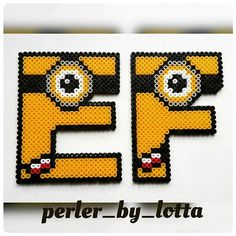 E-F Minion alphabet hama beads by perler_by_lotta