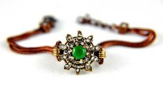 Antique Ottoman Style Vintage Natural Emerald Gemstone Bracelet with cubic zirconia 7.5'' - Fashion Jewelry