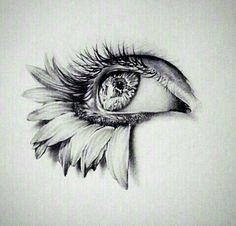 Kunst, Blumen und Augenbild - Molly Molzes - - Trend Home Duts Art Drawings Sketches Simple, Pencil Art Drawings, Tattoo Drawings, Tattoo Shading, Eye Sketch, Sketch Art, Art Du Croquis, Sunflower Drawing, Eyes Artwork