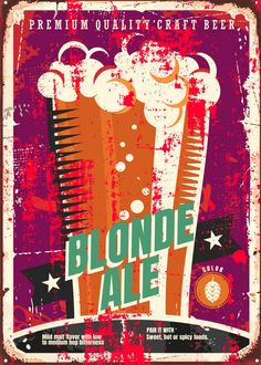 """Beer Styles Blonde Ale #Displate artwork by artist """"Mr. Jackpots"""". Part of a set featuring various craft beer styles. £35 / $50 (Medium), £71 / $100 (Large), £118 / $166 (XL) #Ale #Beer #Hefeweizen #IPA #Lager #Porter #Stout #Alcohol #Alcoholic #Beverage #Pub #Bar #CraftBeer #Brewer #Brewery"""