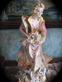 Vintage Romantic Italian Porcelain Lady Statue Figurine Capodimonte Style- Anniversary - Wedding Gift / Mother's Day Pinks ,Golds,Pastels