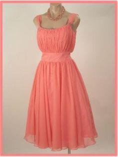 Vintage Inspired  Peach/Pink  Chiffon  Tea Length Dress by randi
