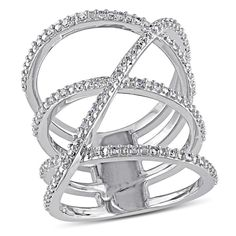 Haylee Jewels Sterling Silver 1/5ct TDW Diamond Cross Over Ring (H-I, I2-I3)