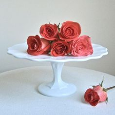 Pretty cake stand - vintage milk glass