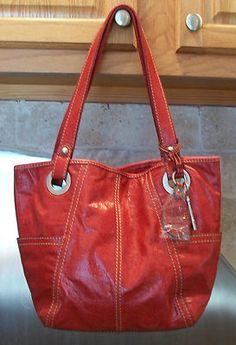 Fossil Hathaway Red Leather Shopper Tote Handbag Satchel Shoulder Purse Nwot