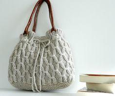 Knitted Bag, NzLbags - Beige-Ecru Knit Bag, Handbag - Shoulder Bag, Leather Strap Nr-0190. $155.00, via Etsy.