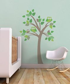 Brown & Green Tree with Owls Wall Decal Set by Trendy Peas