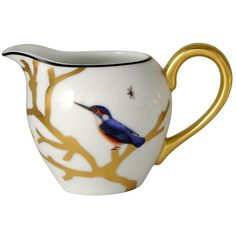 Bernardaud Aux Oiseaux Creamer (£205) ❤ liked on Polyvore featuring home, kitchen & dining, serveware, multi, white serveware, porcelain creamer, white porcelain serveware, bernardaud and white creamer