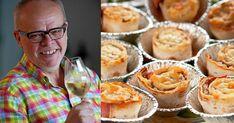 De går bra att förbereda och funkar lika bra som tilltugg och som förrätt. Här tipsar Håkan Larsson om ostgratinerade tunnbrödsrullar och vilket vin som passar bäst till.