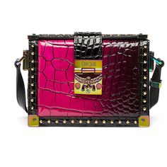 MCM Mitte Degrade Kroko Crossbody (16.719.990 IDR) ❤ liked on Polyvore featuring bags, handbags, shoulder bags, bolsas, chain strap crossbody, leather cross body purse, purple leather handbag, purple leather purse and crossbody purses