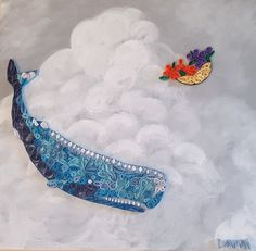 Quilled Sperm Whale & Petunias by Dawn Hunter - Hitchhiker's Guide To The Galaxy