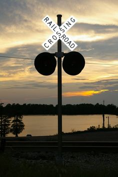 RR Crossing at Sunset by Donna Porter