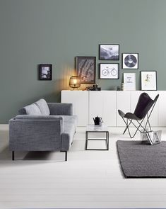 Cosy Scandinavian living room, with interior decor in shades of green and white. Living Room Green, Home Living Room, Interior Design Living Room, Living Room Decor, Apartment Makeover, Decoration Inspiration, Decor Ideas, Small Room Bedroom, Living Room Inspiration