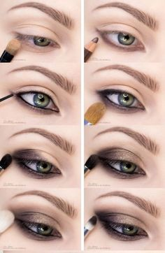 Smoky Eye Makeup with Step by Step, Perfect and in Maquillaje de Ojos Ahumados con Paso a Paso, Perfecto ¡y en Minutos! Smoky eye makeup fast and easy to do. Brown Smoky Eye, Smoky Eyes, Easy Smokey Eye, Green Smokey Eye, Smokey Eye Steps, Eye Shadow Smokey, Natural Smokey Eye, Bronze Smokey Eye, Natural Brows