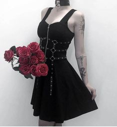 Punk Dress, Goth Dress, Lolita Dress, Crochet Beach Dress, Grunge Dress, Suspender Dress, Cosplay Dress, Dark Fashion, Fashion Boots