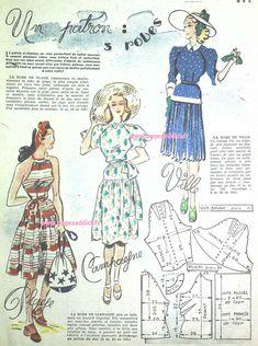 GRATUIT! 45 SUPERBES Patrons Couture Vintage de 1948! FREE Sewing patterns Sewing Summer Dresses, Summer Dress Patterns, Vintage Summer Dresses, Dress Making Patterns, Vintage Outfits, 1940s Dresses, Pattern Making, Robes Vintage, Vintage Diy
