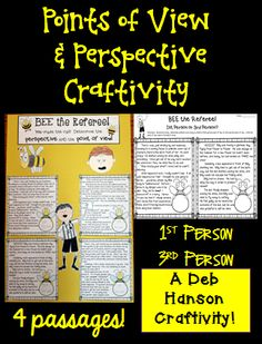 Point of View and Bee Craftivity!  This craftivity allows students to practice identifying two important skills- point of view AND the perspective of the main character.  It includes 4 passages- two written from the perspective of the bee, and two written from the boy's perspective.  Students identify point of view (1st or 3rd person) and the perspective.