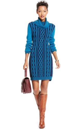 Tommy Hilfiger Cable-Knit Cowl-Neck Sweaterdress