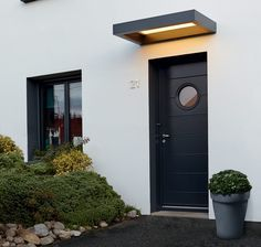 aluminum canopy with led light Door Canopy, Modern Entrance Door, House With Porch, House Entrance, House Front, House Exterior, Exterior Design, Front Door, Building A Porch