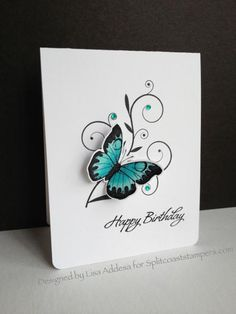 DINSP0214 Teal Butterfly Birthday