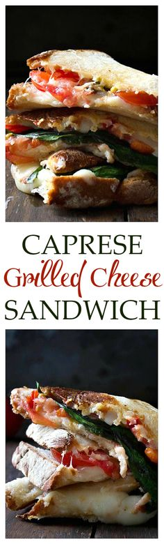 Caprese Grilled Cheese Sandwich - All the delicious Caprese fixins stuffed and melted in a grilled cheese sandwich! SO AMAZING!!