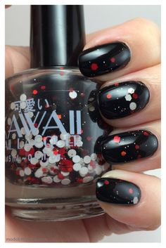 Kawaii Nail Lacquer Umbrella Corp. over SinfulColors Black on Black