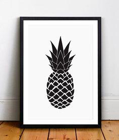 Black Pineapple, Geometric Pineapple, Summer Art, Pineapple Art, Wall Art, Wall Print, Printable, Black and White