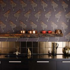 Matthew Williamson - Tyger Tyger Wallpaper - a real statement in this kitchen