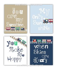 Train Art for Kids Train Decor Art Prints, 4-8x10 prints, Boy or Girl Nursery, nursery, or playroom, Pottery Barn Dwell Studio
